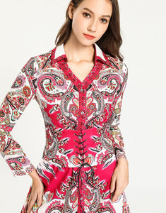 'Paisley for days' hot pink shirt dress with corset belt