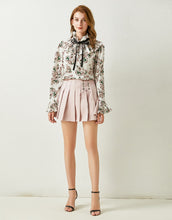 Load image into Gallery viewer, Floral Ruffle high neck chiffon top and pleated mini skirt