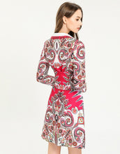 Load image into Gallery viewer, 'Paisley for days' hot pink shirt dress with corset belt