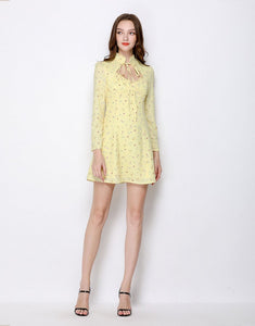 Citrine Ditsy Floral Collar Mini Dress