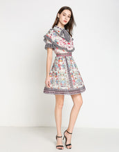 Load image into Gallery viewer, Floral pleated carousel mini dress