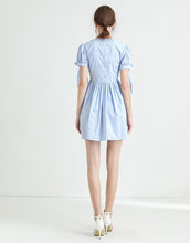 Load image into Gallery viewer, Light blue diamante poplin summer dress