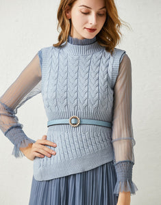 Dainty Blue knitted vest and Sheer pleated dress