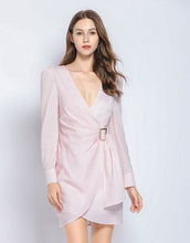 Load image into Gallery viewer, Soft pink gingham v neck dress with side gathering