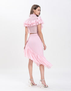 Dotty Candy Pink Ruffle crop top with Dip Hem skirt set