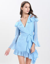 Load image into Gallery viewer, Dotty baby blue cut out shoulder gathered hem mini dress