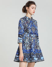 Load image into Gallery viewer, Blue hue folk print skater dress *WAS £160*