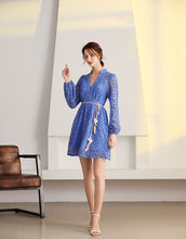 Load image into Gallery viewer, Cornflower Blue Paisley lacework mini dress