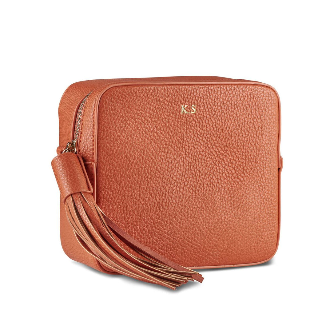 Hermes Orange Vegan Leather Cross Body Bag THREESIXFIVE