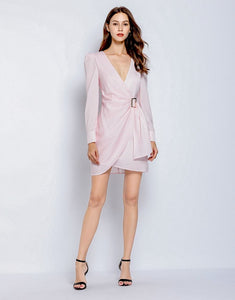 Soft pink gingham v neck dress with side gathering