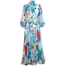 Load image into Gallery viewer, The Mix and Match floral Polka  high neck maxi dress