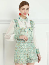 Load image into Gallery viewer, Mint Ditsy floral two piece with dungarees