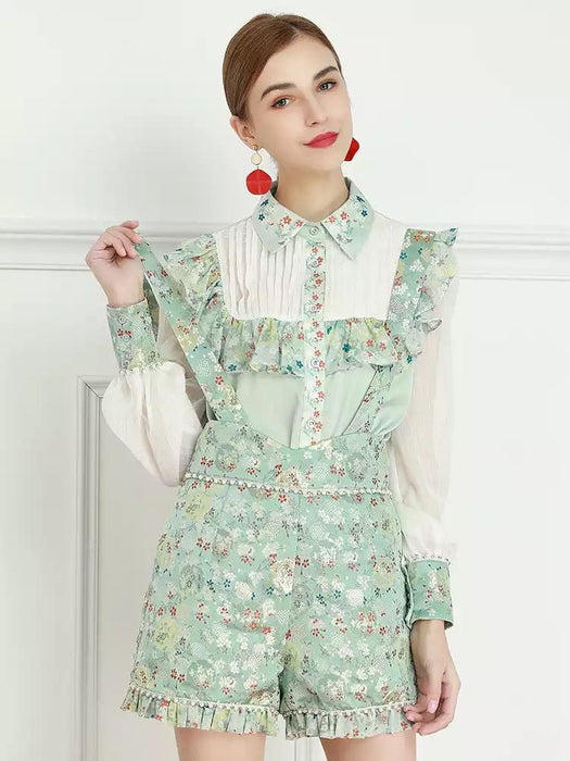 Mint Ditsy floral two piece with dungarees