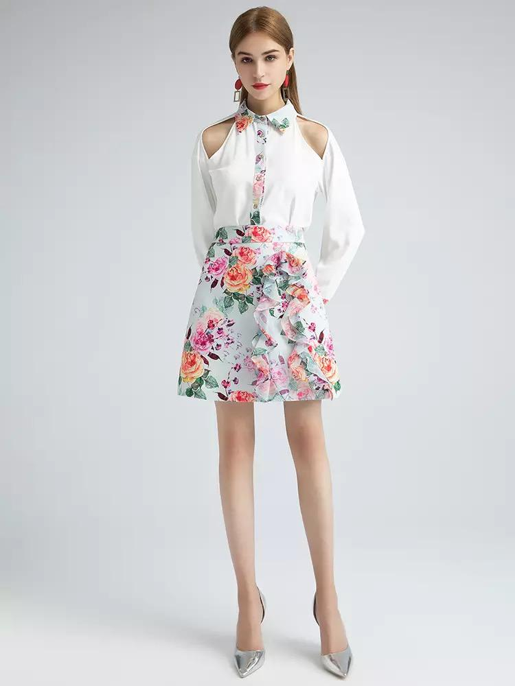 Vibrant flowers two piece with ruffle skirt