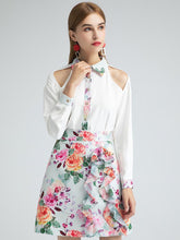 Load image into Gallery viewer, Vibrant flowers two piece with ruffle skirt