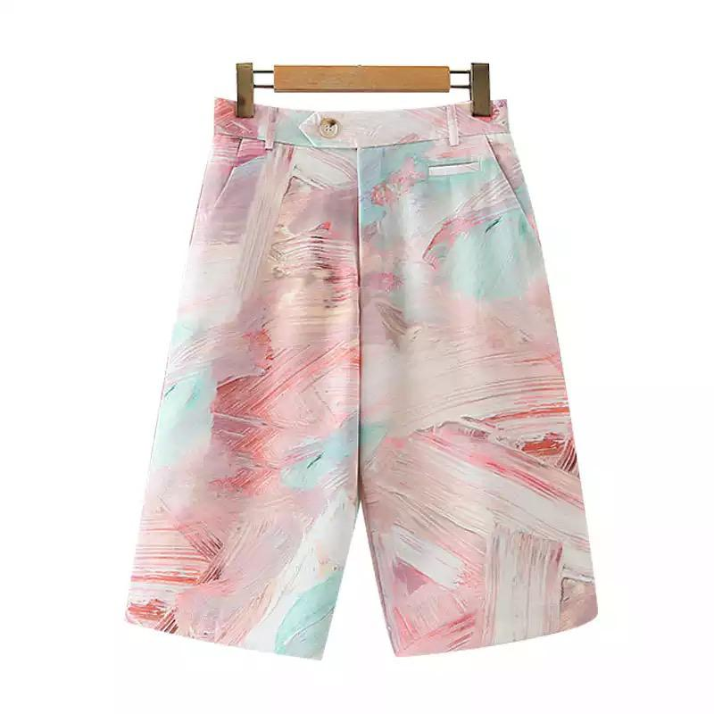 Abstract Pastel Painted Shorts