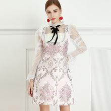 Load image into Gallery viewer, Cherry Blossom flower mini dress with bow