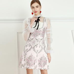 Cherry Blossom flower mini dress with bow
