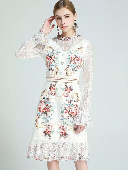 Floral supreme long sleeve with lace mini dress