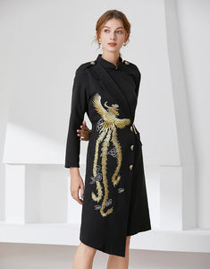 Gold Phoenix Blazer Dress comes in long or short sleeve