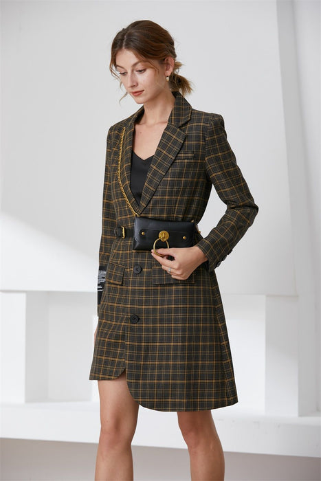 Checked Asymmetric blazer with belt bag