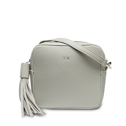 Stone Grey Vegan Leather Cross Body Bag THREESIXFIVE