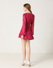 Load image into Gallery viewer, Fuchsia lace up mini dress