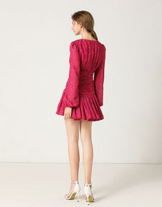 Fuchsia lace up mini dress