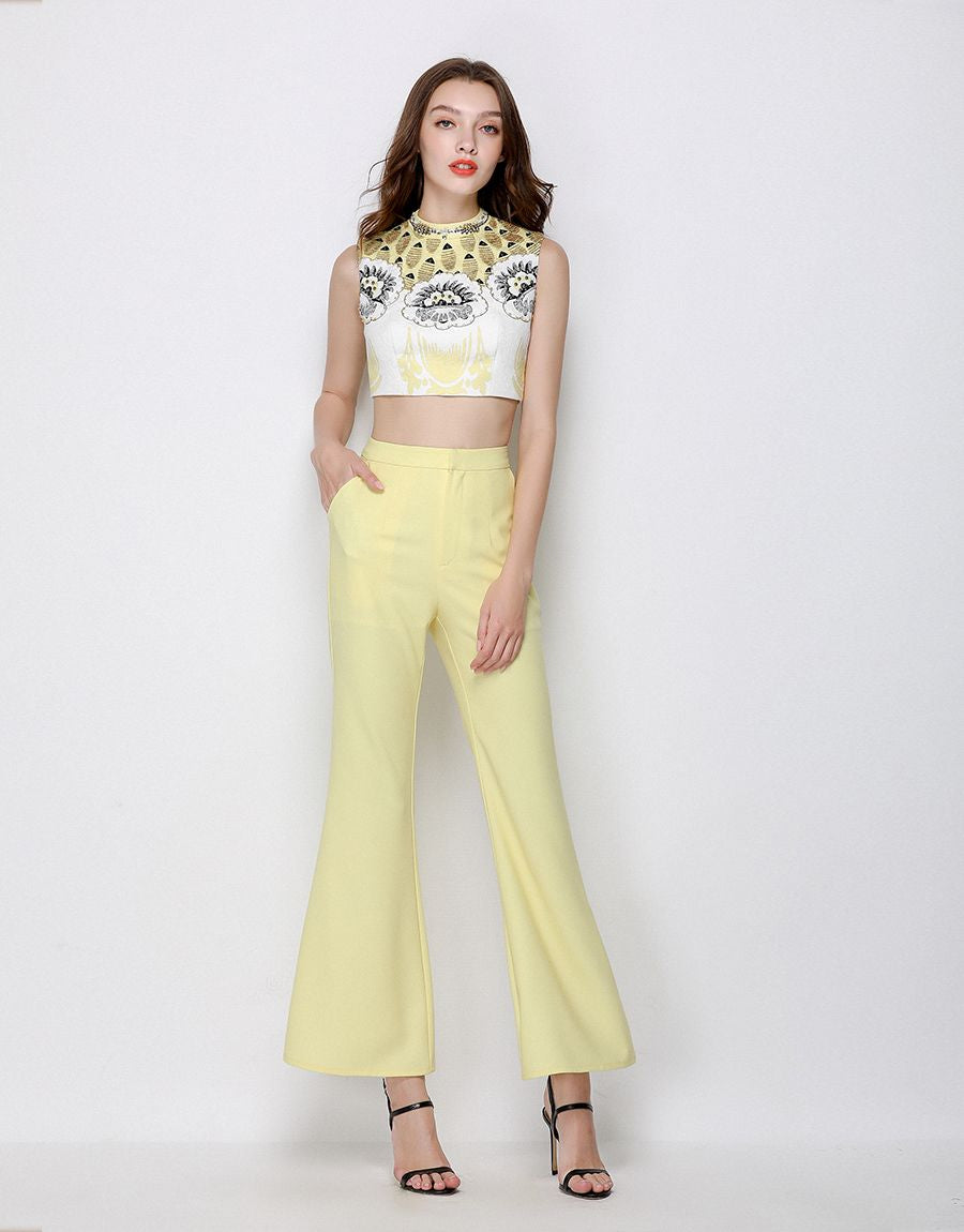 Lemon Sherbet Sixties Embellished Co- Ord