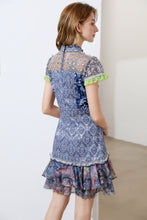 Load image into Gallery viewer, 'Blissful Blue floral' short sleeve mini dress
