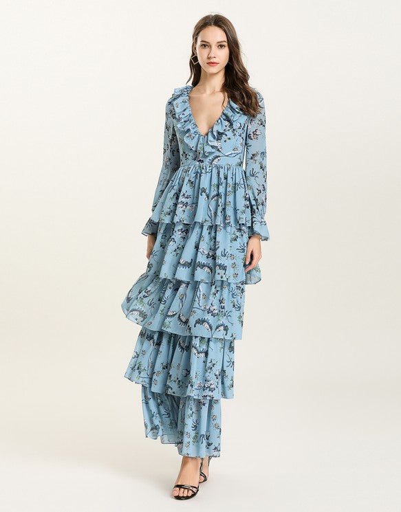 a75de8d6466 ... Load image into Gallery viewer, Blue Floral v neck long sleeved Tiered  ruffle maxi dress ...