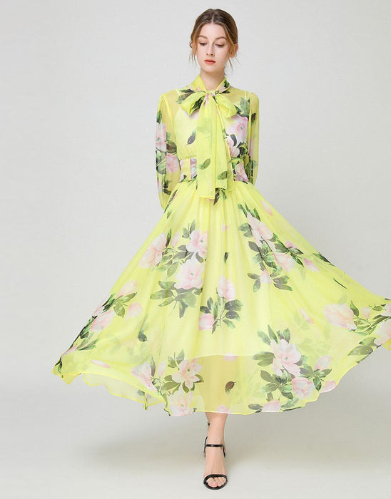 Yellow blossom high neck maxi dress