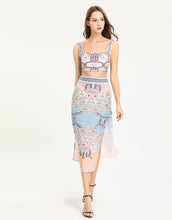 Load image into Gallery viewer, Blush pink floral bloom mini crop top and split maxi skirt two -piece set.