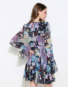 Blue Kaleidoscope plunge mini dress with bell sleeves *WAS £155*