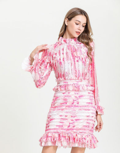 Candy Floss Pink high neck ruffle mini dress