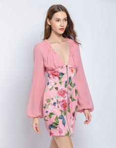 Dusky Pink floral long sleeve mini dress