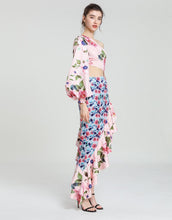 Load image into Gallery viewer, Asymmetric clashing rose print dip hem midaxi dress