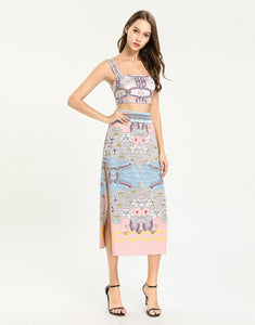 Blush pink floral bloom mini crop top and split maxi skirt two -piece set.