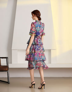 'The Wildflower' short sleeve tiered midi dress