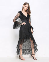 Load image into Gallery viewer, Onyx Lace Ruffle Maxi dress *WAS £170*