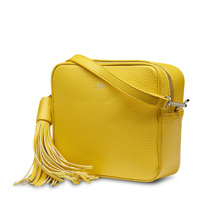 Neon Yellow Vegan Leather Cross Body Bag  THREESIXFIVE