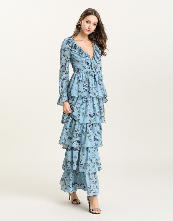 12dbfcf0c20 Blue Floral v neck long sleeved Tiered ruffle maxi dress – Comino Couture
