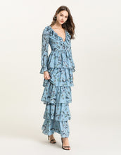 Load image into Gallery viewer, Blue Floral v neck long sleeved Tiered ruffle maxi dress
