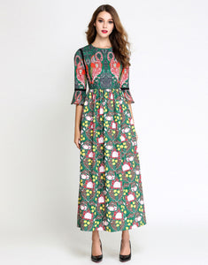 Green / Multi Print Flamingo Maxi Dress