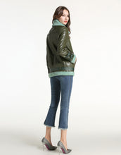 Load image into Gallery viewer, Oversized khaki and teal aviator jacket