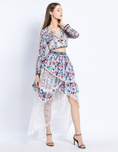 Load image into Gallery viewer, Floral burst criss -cross top with dip hem skirt with lace