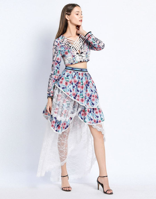 Floral burst criss -cross top with dip hem skirt with lace