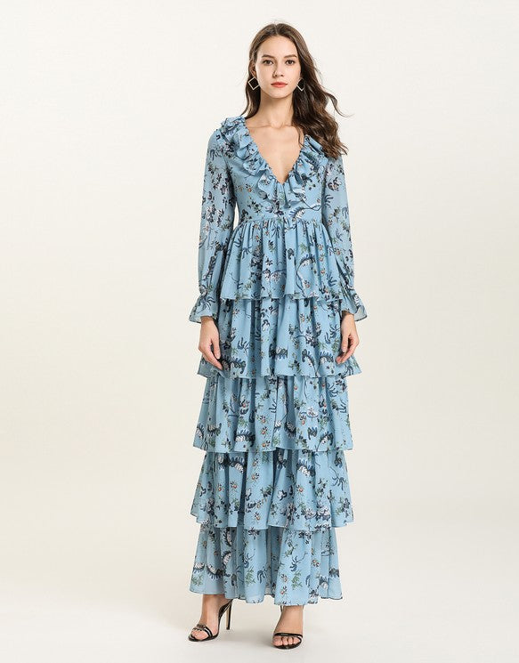 dc4565abb83 Load image into Gallery viewer, Blue Floral v neck long sleeved Tiered  ruffle maxi dress ...