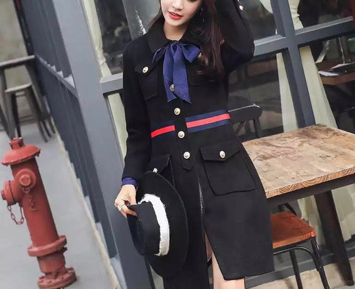 Black Military Coat with bow