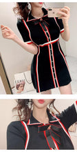 Load image into Gallery viewer, Black knitted dress with red and black stripes